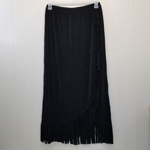 Chicos Travelers L Black Skirt Stretch Fringed